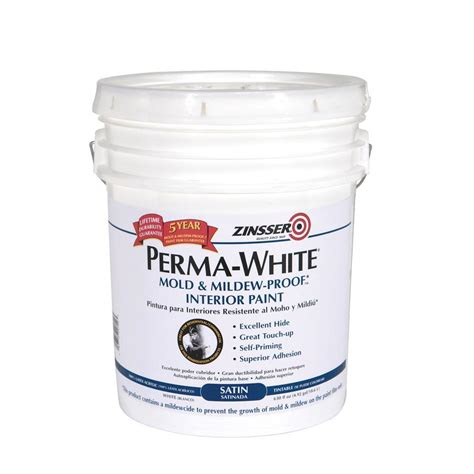 zinsser paint colors zinsser 5 gal perma white mold and mildew proof satin