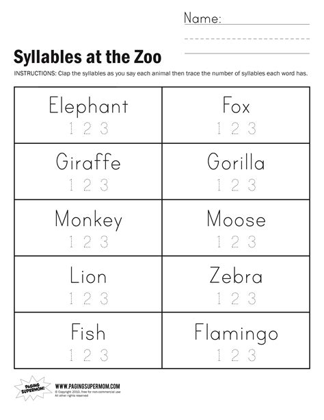 Syllables Worksheets by Syllables At The Zoo Worksheet Paging Supermom