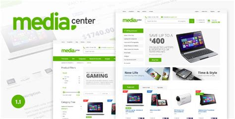 Media Center Electronic Ecommerce Psd Template By Bcube Themeforest Shopping Cart Design Templates