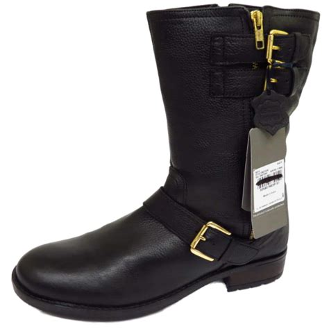 tall biker boots ladies flat black leather zip up calf tall winter military