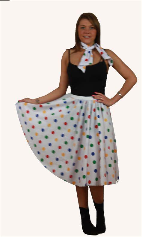 Rok Set Bandana rock n roll skirt scarf set 1950s 1960s white multi