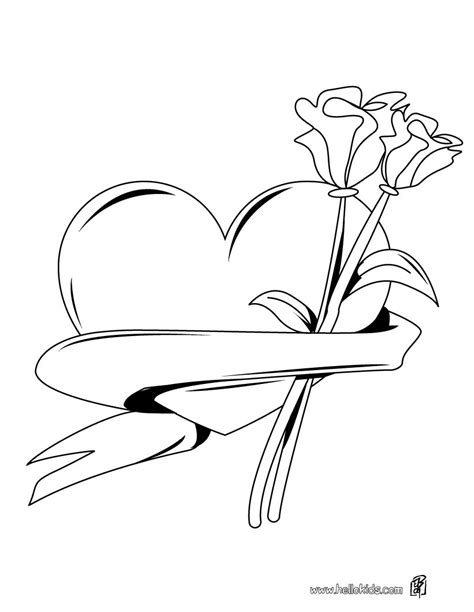 coloring pages of hearts and roses heart roses bunch coloring pages hellokids com