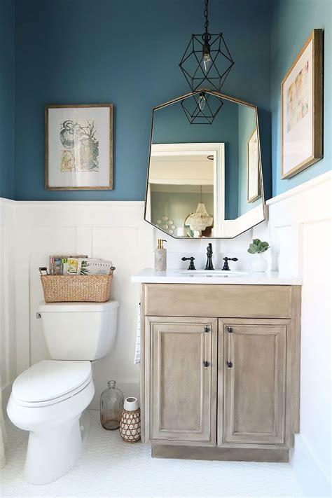 modern coastal powder room reveal  bathroom colors