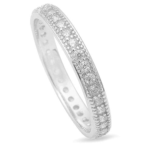 sterling silver  antique cz womens eternity wedding