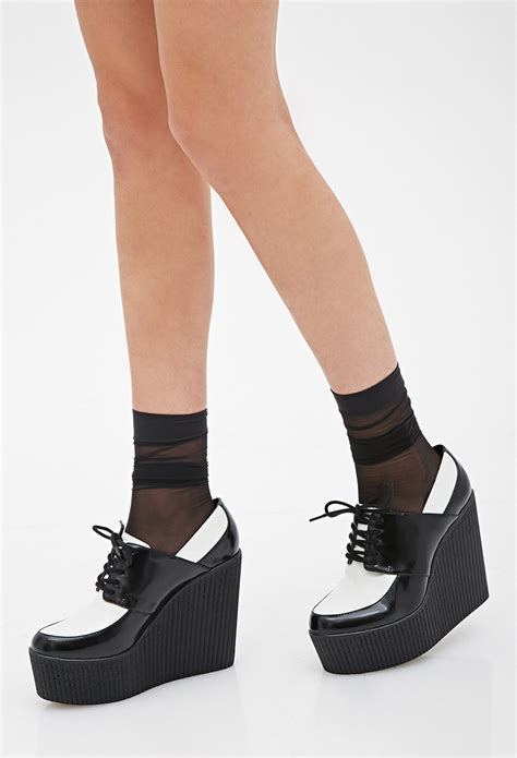 Platform Faux Leather Shoes lyst forever 21 faux leather platform creepers in black