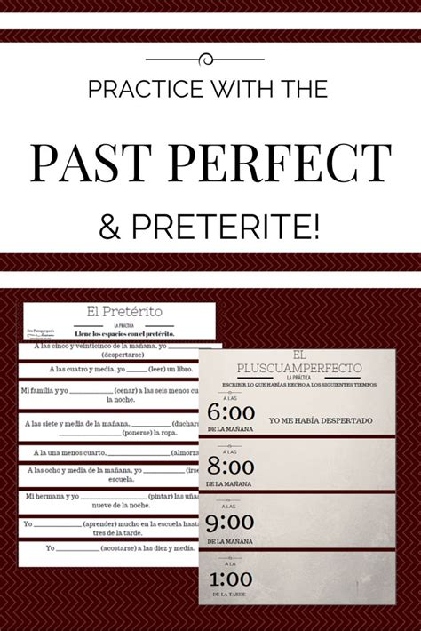 write down the pattern of present perfect tense 163 best images about preterito on pinterest spanish