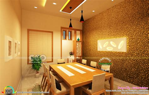 grand dining bedroom  stair designs kerala home