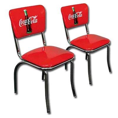 coca cola retro chrome chairs pair