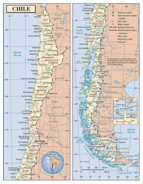 political map of chile detailed political and administrative map of chile with