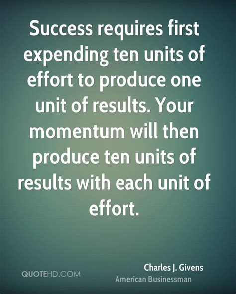 Success J Pincot Momentum success requires expending ten units of effo by charles j givens like success