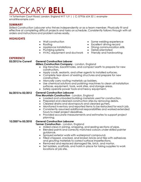 Construction Resume by Construction Resume Template For Microsoft Word Livecareer