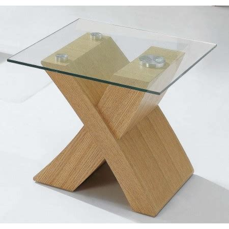 Oak And Glass Side Table New X End Table