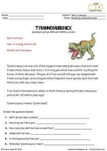 primaryleap co uk reading comprehension tyrannosaurus