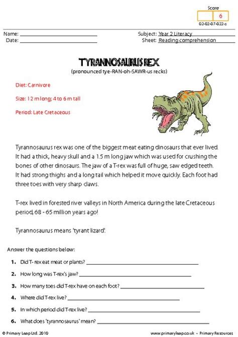 printable reading comprehension test with answers primaryleap co uk reading comprehension tyrannosaurus