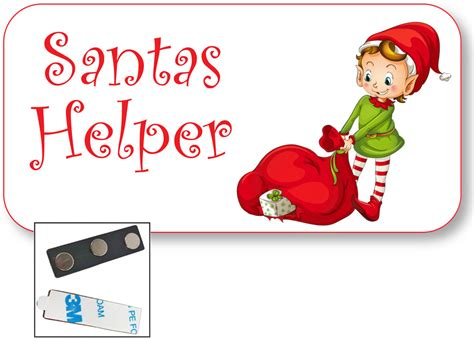 free printable elf name tags 1 santas helper name badge tag w elf artwork and magnet