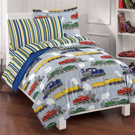 boy toddler bed sets new trains boys bedding comforter sheet set full ebay