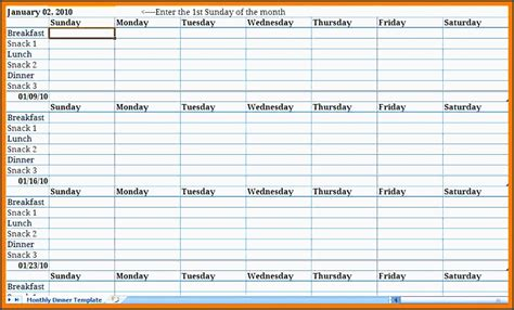 Monthly Meal Plan Excel Template Archives Sletemplatess Sletemplatess Meal Planner Template Excel