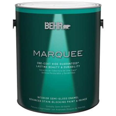 behr marquee 1 gal medium base semi gloss enamel interior paint 345401 the home depot