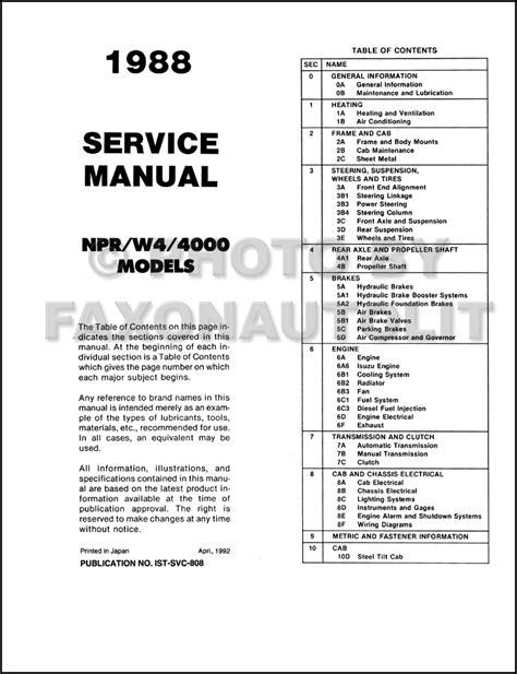 1988 chevy s10 service manual wiring diagram wiring diagrams image free gmaili net 1988 isuzu npr chevy gmc w4 tiltmaster truck repair shop manual original