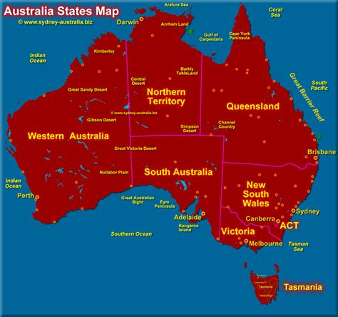 map of australia with territories australia states map