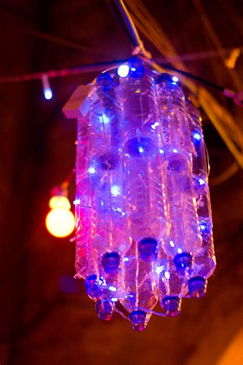 fileplastic bottles and led lights repurposed as a