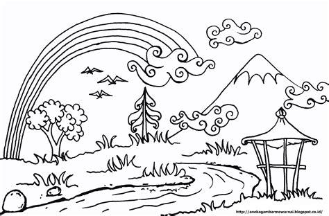 Coloring Mewarnai Pemandangan gambar mewarnai pemandangan langit cerah untuk anak paud