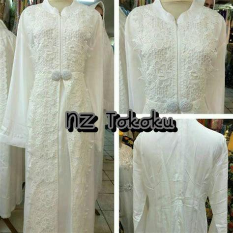 Maxi Batam Putih baju gamis putih muslim brokat murah dress untuk lebaran