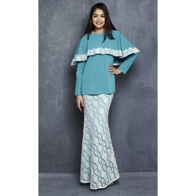 pattern dress labuh linda modern kurung with lace cape in turquoise kebaya