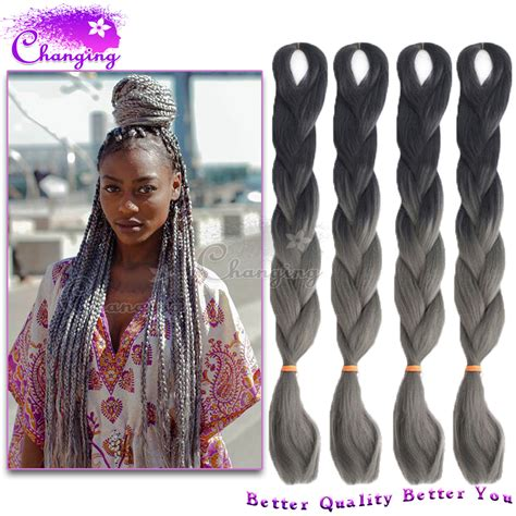 kanekolan hair black white grey new ombre gray braiding hair 10pcs lot two tone kanekalon