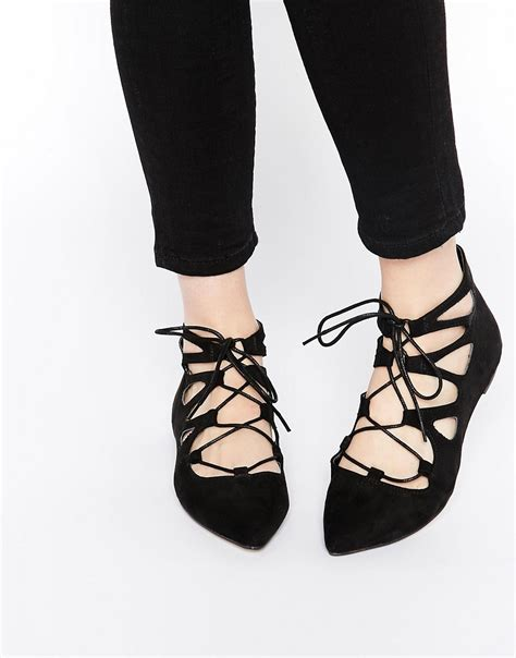 flat shoes lace up asos asos pointed lace up ballet flats at asos