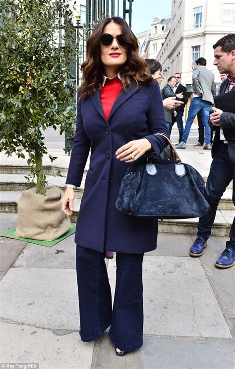 48 year old fashion salma hayek nails retro glamour as she dons flared jeans
