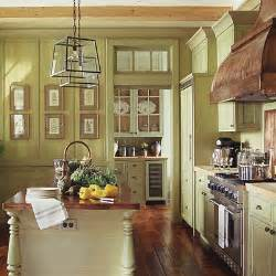 This pretty green glazed kitchen works beautifully with its graceful