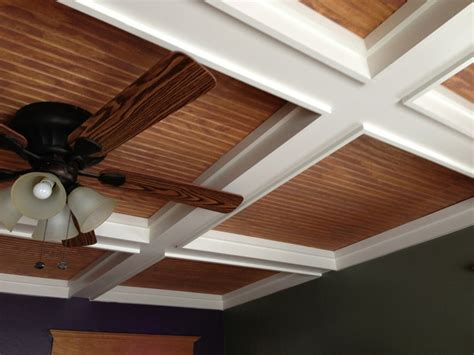Coffered Ceiling Installation Coffered Ceiling With Bead Board Panel Installation