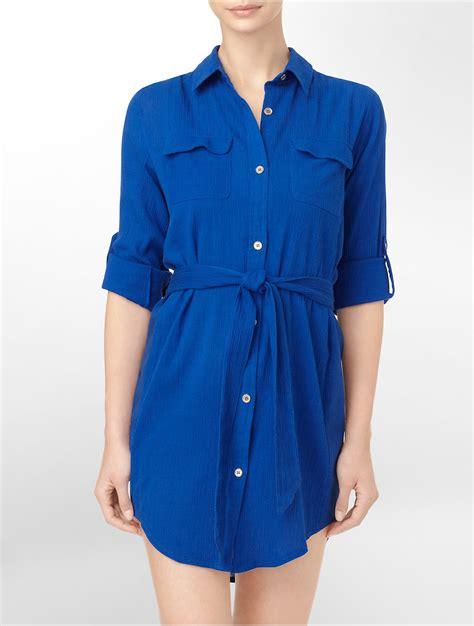 The Shirt Dress Calvin Klein by Calvin Klein Shirt Dress Roll Up Sleeve Cover Up In Blue