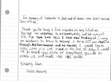 Thank You Letter For Officer Students At Fowler Middle School Write Letters To Dallas Officers Dpd Beat