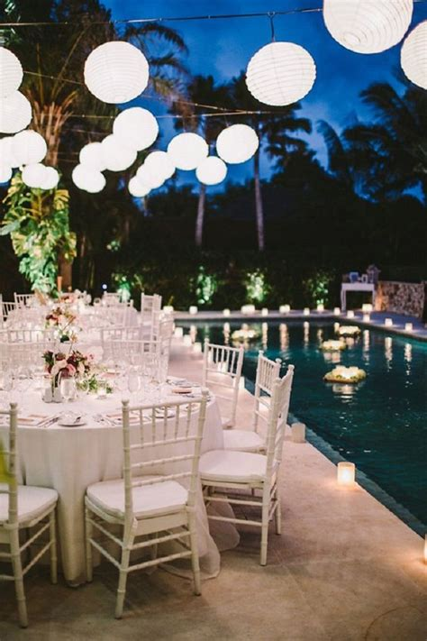 magical themed poolside wedding reception d 233 cor idea weddceremony Backyard Pool Wedding Ideas