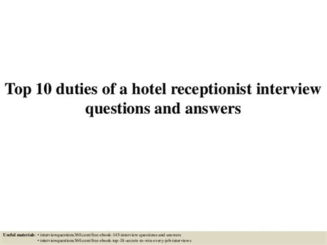 top 10 duties of a hotel receptionist questions and answers