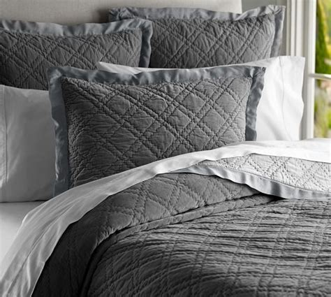 dark grey coverlet washed velvet silk quilt full queen flagstone gray