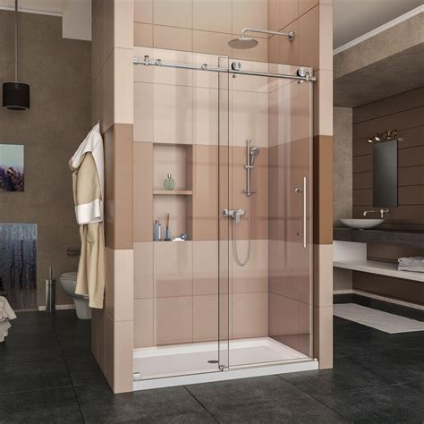 Shower Base And Doors Dreamline Enigma X 36 In X 48 In X 78 75 In Frameless Sliding Shower Door In Brushed