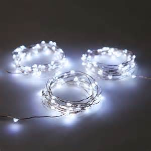 cool white led lights white wire cool white 50 led silver wire battery string light set of 3
