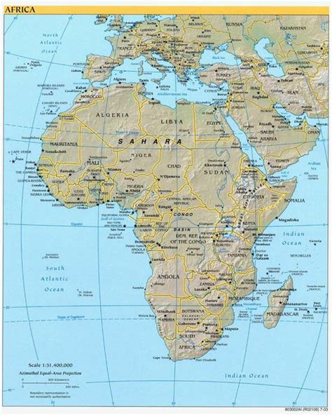 africa map 2003 africa physical map 2003