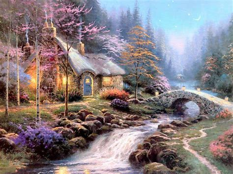 kinkade twilight cottage twilight cottage kincade paintings wallpaper image