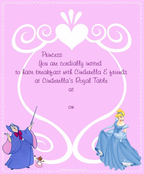 printable invitation to disney world invitation to cinderella s royal table family vacation