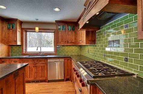 Green Subway Tile Backsplash In A Craftsman Home Decor Craftsman Tile Backsplash