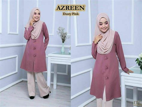 Baju Blouse Ch774447 Button Tunik Dusty blouse azreen big button mesra penyusuan saeeda collections