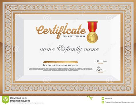 adobe illustrator certificate template gold certificate of completion template thai element