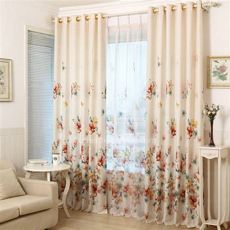 orchid curtains decorative and beautiful orchid pattern beige cotton linen