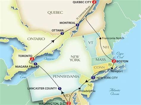 map of east coast usa and canada experience our east coast usa canada escorted tour