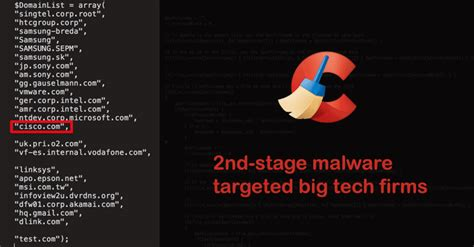 ccleaner backdoor ccleaner malware infects big tech companies with second