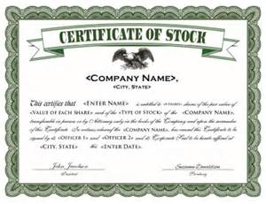 Corporate Stock Certificate Template Free Stock Certificate Template